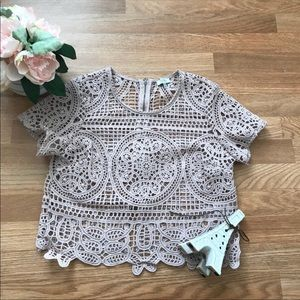 Tobi lace crochet cropped cover up top